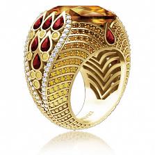 Кольцо из желтого золота Эдем: Храм Солнца с сапфирами, цитринами, наноморганитами и бриллиантами