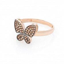 Золотое кольцо Бархатное лето с фианитами цвета шампань