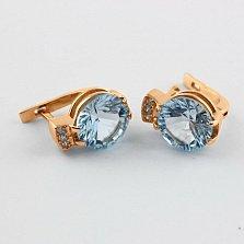 Золотые сережки с топазами и фианитами Крейтер