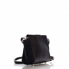 Кожаный клатч Genuine Leather 1686 черного цвета с застежкой-молнией и плечевым ремнем