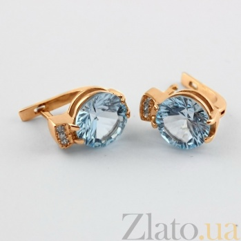 Золотые сережки с топазами и фианитами Крейтер VLN--113-1516-1