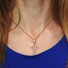 Золотой декоративный крест Планида с цирконием