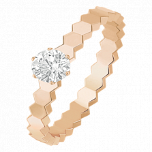 Кольцо в розовом золоте с бриллиантом Bee