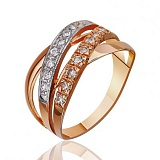 Золотое кольцо Золотые плетения с белыми фианитами