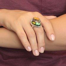Серебряное кольцо Тропики с имитацией опала