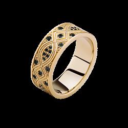 Золотое кольцо Благополучие с черными бриллиантами