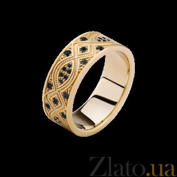 Золотое кольцо Благополучие с черными бриллиантами 000029383