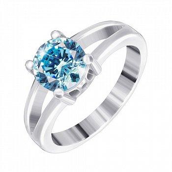 Серебряное кольцо с фианитом цвета голубого топаза 000025461