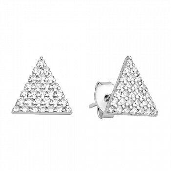 Серебряные пуссеты-треугольники с цирконием 000106876