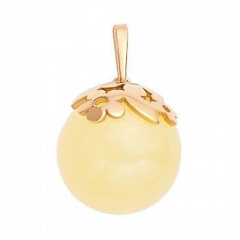 Серебряный кулон в позолоте, с цветочками и лимонным янтарем 000099719