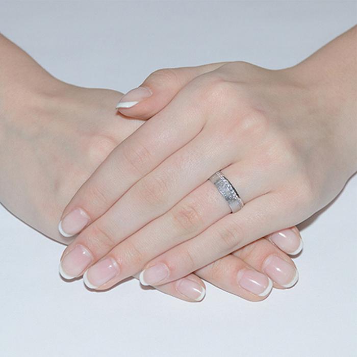 Обручальное кольцо из белого золота с фианитами 000006438 10134б