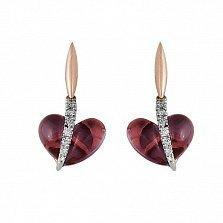 Серьги из красного золота Сердечки с аметистами и бриллиантами