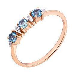 Кольцо из красного золота с топазами и бриллиантами 000019009
