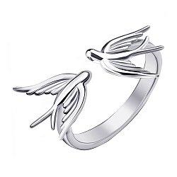 Серебряное разомкнутое кольцо Пара ласточек 000064238