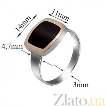 Серебряное кольцо с агатом и вставкой золота Классика BGS--255/1к агат