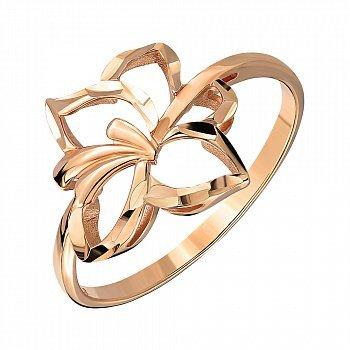 Кільце з червоного золота з алмазною гранню 000141421