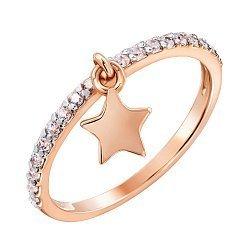 Золотое кольцо Звездочка в комбинированном цвете с подвеской и фианитами