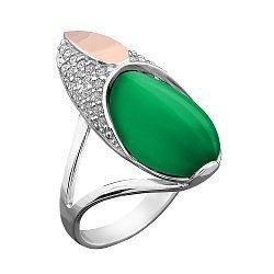 Серебряное родированное кольцо с золотой накладкой, зеленым улекситом и фианитами 000102820