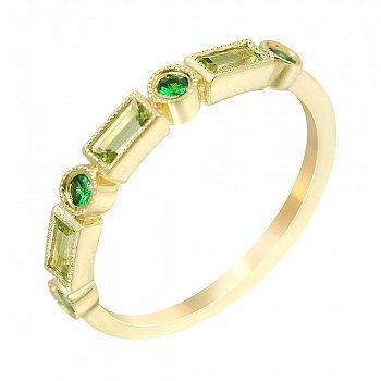 Золотое кольцо в желтом цвете с хризолитом и цаворитами 000114583