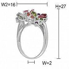Золотое кольцо с турмалинами, аметистами, хризолитами, топазами и бриллиантами Жанин