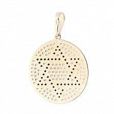 Золотой круглый медальон Звезда Давида в желтом цвете с черными и белыми фианитами