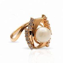 Золотое кольцо с жемчугом и фианитами Арабелла