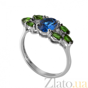 Серебряное кольцо с синим и зелёным цирконием Ульяна Ульяна к/син-зел цир