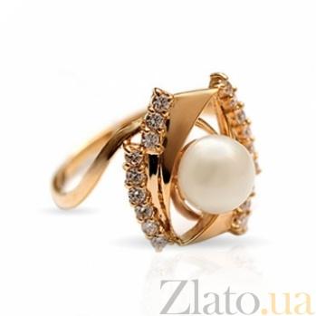 Золотое кольцо с жемчугом и фианитами Арабелла 000029990