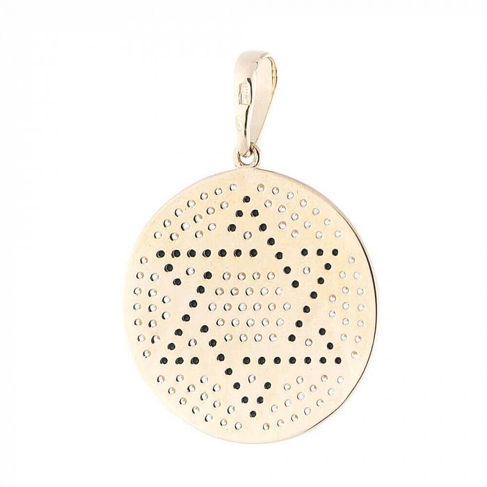 Золотой круглый медальон Звезда Давида в желтом цвете с черными и белыми фианитами 000082491
