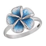 Серебряное кольцо с цветной эмалью Плюмерия