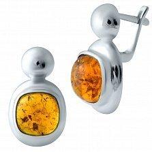 Серебряные серьги Изида с янтарем и родием