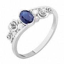 Золотое кольцо с сапфиром и бриллиантами Даяна