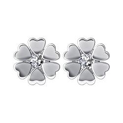 Серебряные серьги-пуссеты Хоровод сердец с бриллиантами