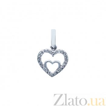 Серебряный кулон с фианитами Биение сердца 000027192