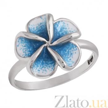 Серебряное кольцо с цветной эмалью Плюмерия 000026557