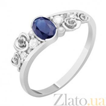 Золотое кольцо с сапфиром и бриллиантами Даяна KBL--К1119/бел/сапф