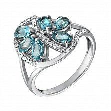 Серебряное кольцо Вуаль с лондон топазами и фианитами