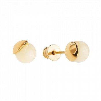 Серебряные серьги-пуссеты в позолоте с лимонным янтарем 000099717