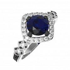 Серебряное кольцо Гаяна с синтезированным сапфиром и фианитами