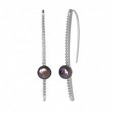 Серебряные серьги Инферно с черным жемчугом и фианитами