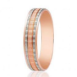 Обручальное кольцо в комбинированном цвете золота с насечками 000001685