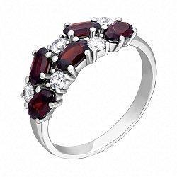 Серебряное кольцо с гранатами и фианитами 000134174