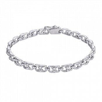 Серебряный браслет с бриллиантами, 5мм 000022379