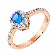 Золотое кольцо в комбинированном цвете с топазом и фианитами 000132282