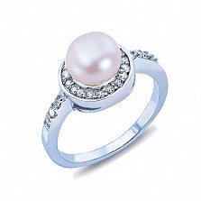 Серебряное кольцо с жемчугом и куб. цирконом Веста