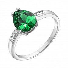 Серебряное кольцо Илона с зеленым кварцем и фианитами