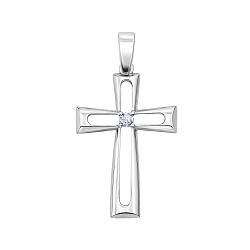 Крестик из белого золота с бриллиантом 000145917