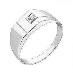 Серебряный перстень-печатка с фианитом 000126569