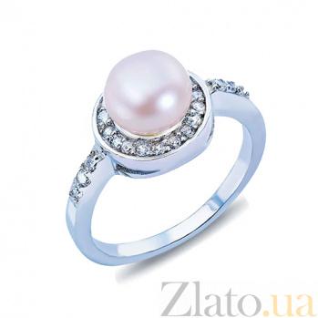 Серебряное кольцо с жемчугом и куб. цирконом Веста AQA--R00562PW