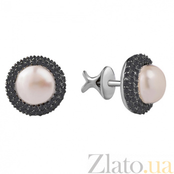Серебряные серьги-пуссеты Прованс с белым жемчугом и черными фианитами 000027219